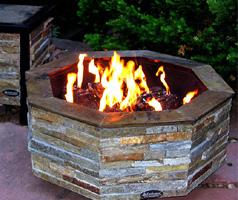 octagon stone outdoor fireplace